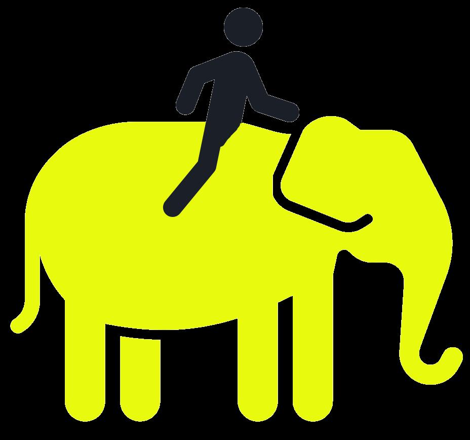 Grafik für psychodynamischen Ansatz: Mensch sitzt auf Elefant